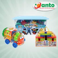 Com bo 03 đồ chơi Anto (Vua sáng tao, xếp hình thần đồng, xếp hình tàu hỏa) Tặng bộhọc toán