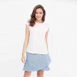 Áo kiểu Cocoxi cổ bẻ vai đính nơ màu trắng 17AT134
