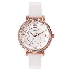 Đồng hồ nữ mặt tròn đính đá màu trắng Julius JA-807