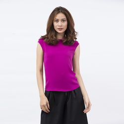Áo kiểu Cocoxi cổ bẻ vai đính nơ màu tím 17AT33
