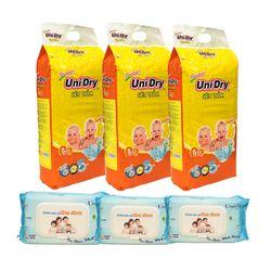 Combo 3 gói Tã dán em bé Unidry và 3 gói khăn ướt gia đình 80 miếng