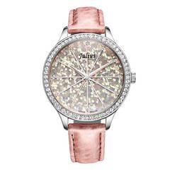 Đồng hồ nữ mặt tròn màu hồng phối họa tiết Julius JA-791