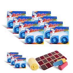 Bộ 8 vỉ vệ sinh bồn cầu Blueshot + 3 vỉ + 2 khăn + 1 Thảm chùi chân + 3 Cuộn túi đựng rác