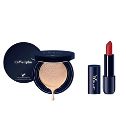 Phấn nước trang điểm It's Well Plus Platinum CC Cushion 15g+Son Lì Matte Vampire Red