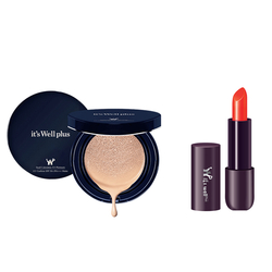Phấn nước trang điểm It's Well Plus Platinum CC Cushion 15g+Son Lì Semi Matte Devil's Orange