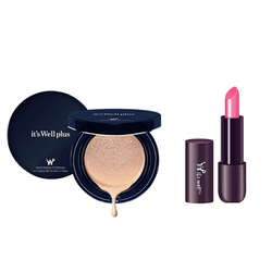 Phấn nước trang điểm It's Well Plus Platinum CC Cushion 15g+Son Lì Semi Matte Terrible Pink